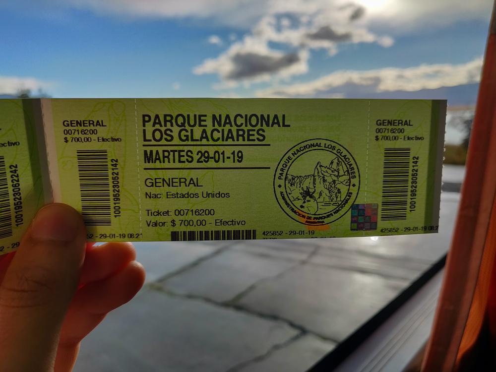 Entrance ticket for Parque Nacional Los Glaciares