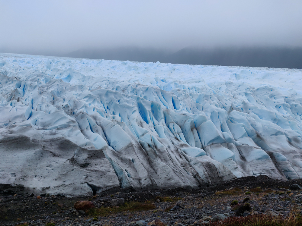 Close-up view of the glacier edge