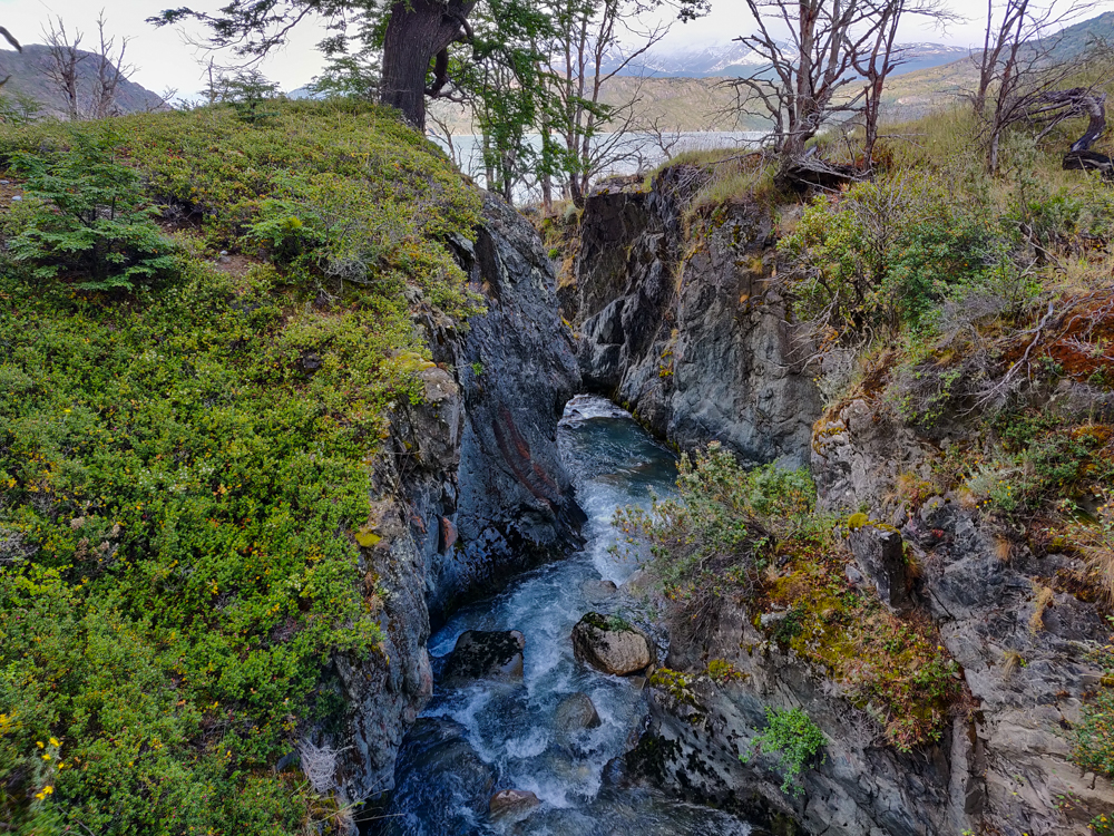 View of a little river gorge from the bridge