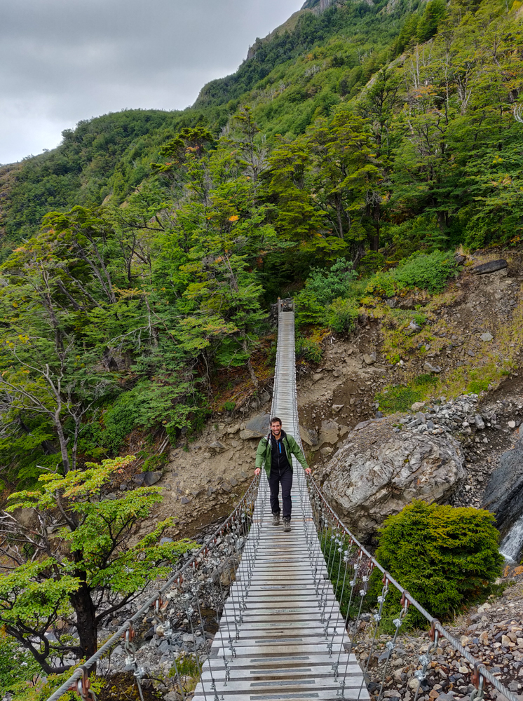 Mike on the suspension bridge