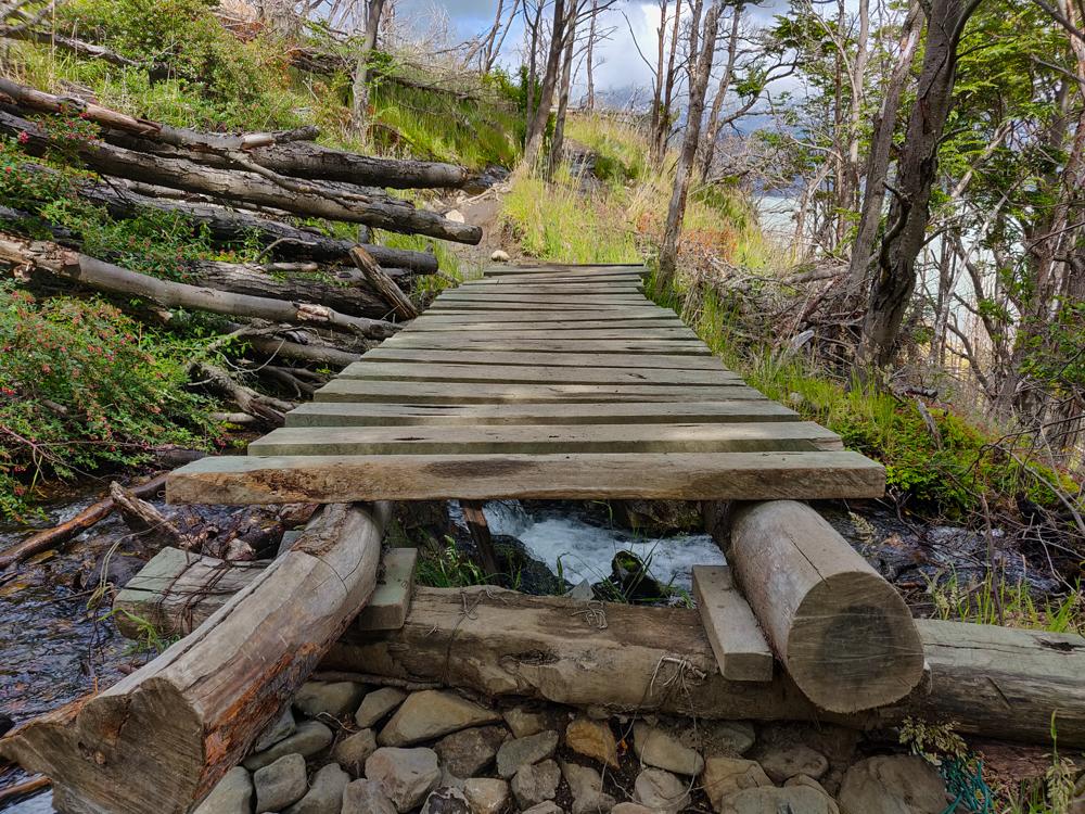Plank bridge along the way