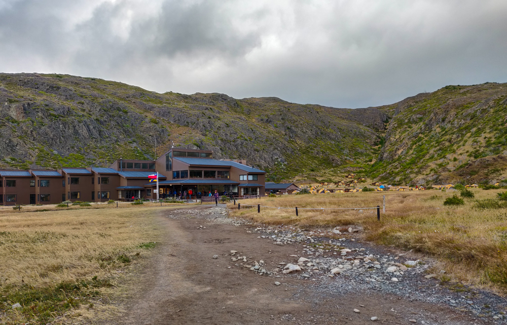 Looking back at the Paine Grande campground and facilities