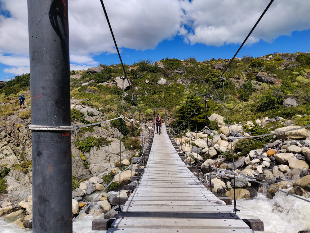 Mike crossing a suspension bridge