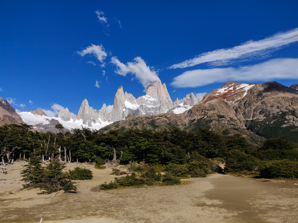 Fitz Roy with some clouds trailing off the peak