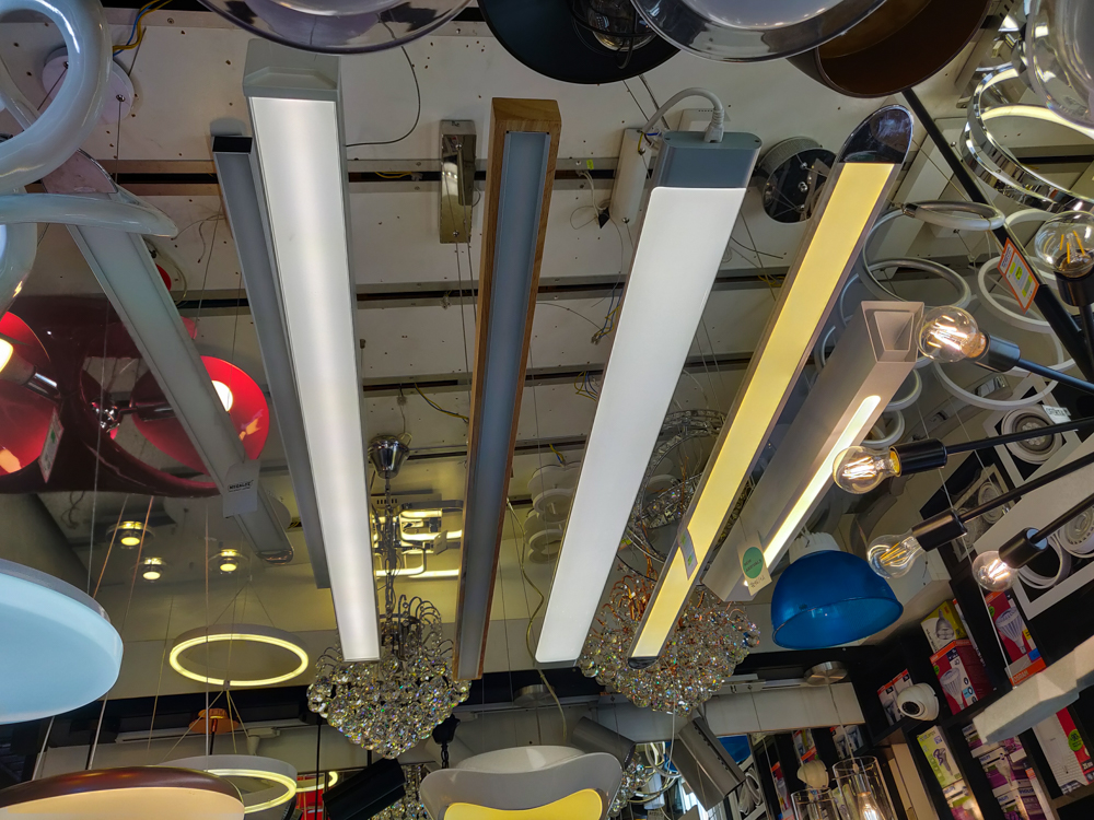 Light fixtures hanging from the ceiling