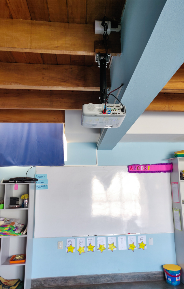 Jocelyn's classroom with her new projector