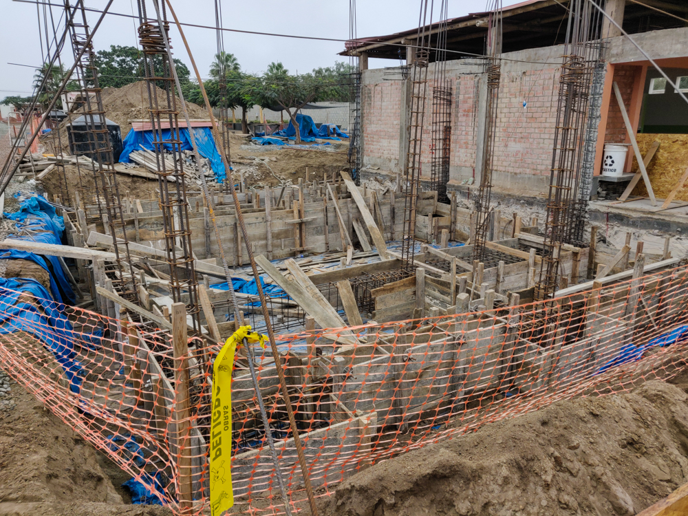 The foundations in Module 2 with the formwork for the concrete