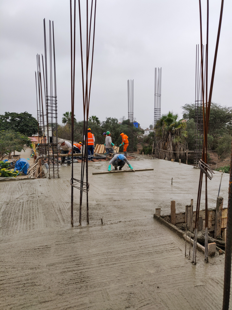 Almost finished pouring the concrete